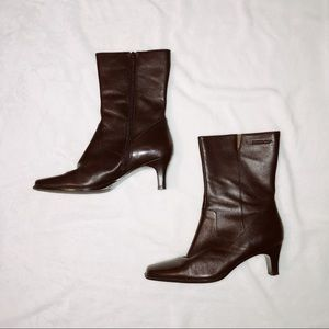 Isotoner brown leather heel booties boots ankle